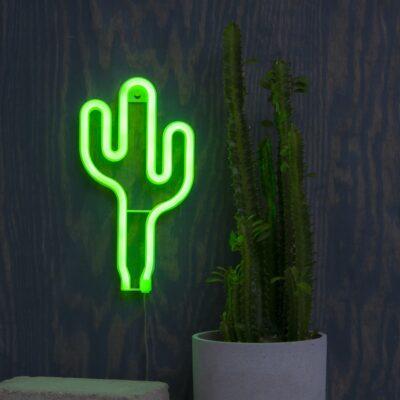 Riputatav LED-kaunistus CACTUS NEONLIGHT, töötab 3 x AA-patareiga